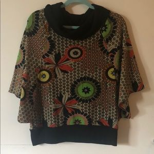 Sweaters - Printed knit poncho